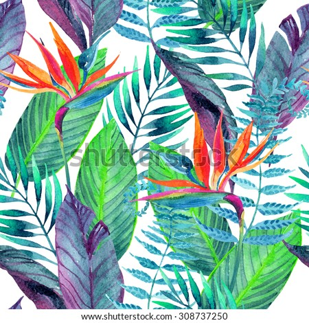 Watercolor tropical leaves and flowers seamless pattern. Hand painted illustration for floral design background. - stock photo