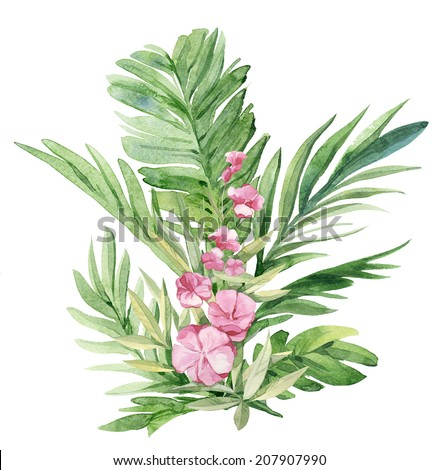 Watercolor tropical palm leaves and flowers - stock photo