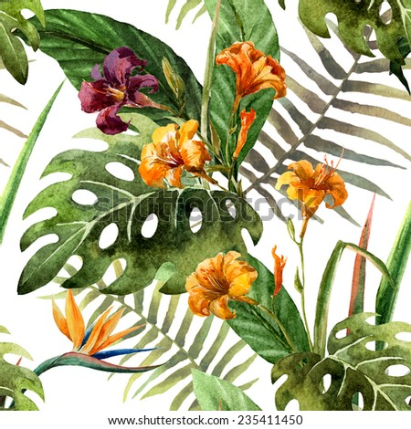 watercolor, tropical, pattern - stock photo