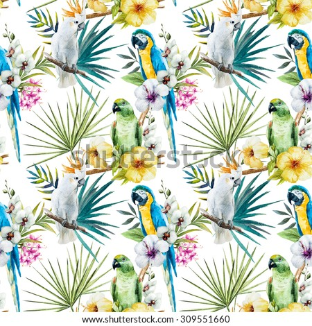 watercolor tropical pattern with parrots and hibiscus, orchids, cockatoos. Exotic vibrant wallpaper white,seamless fashionable graphical free hand drawing hibiscus flowers - stock photo