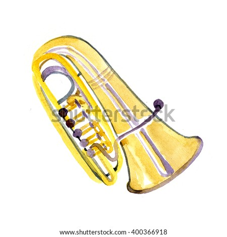 Watercolor tuba