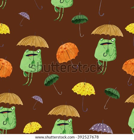 watercolor umbrella frog seamless pattern, hand painted illustration isolated on brown background