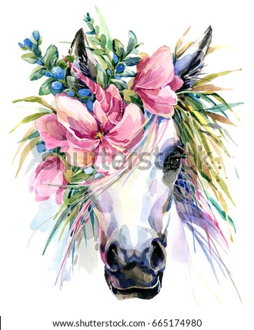 watercolor unicorn illustration. White horse in flower wreath