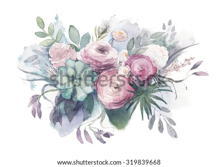 Watercolor Vintage and rustic wedding style bouquet.  Hand painted floral posy with anemone, succulent, roses, ranunculus, leaves, herbs and branches. Illustration isolated on white background  - stock photo