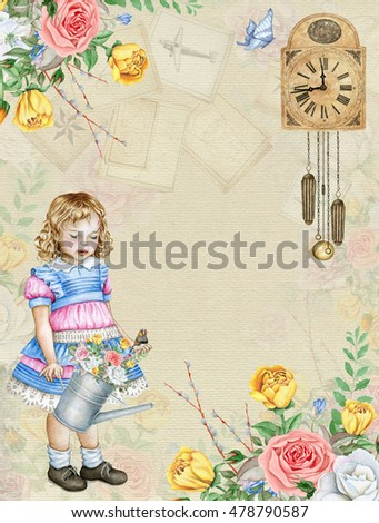 Watercolor vintage background with cute little girl, old clock and rose bouquets. Great for greeting cards and other products.