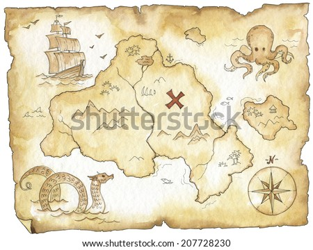 Watercolor vintage fantasy handmade old map set - stock photo