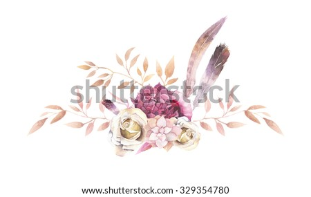 Watercolor vintage floral composition. Gold and pink flowers bouquet: succulent, branches, leaves, feathers, berries, peony, rose isolated on white background. Hand painted natural design - stock photo