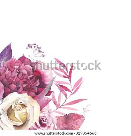 Watercolor Vintage Floral Frame Greeting Card Background With Flowers And Leaves Bouquet In Corner Isolated