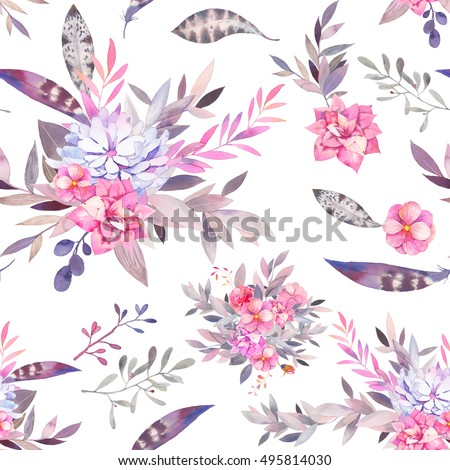Boho Flower Pattern Watercolor Vintage Floral Seamless Texture With Gray And Pink Bouquet Succulent Branches