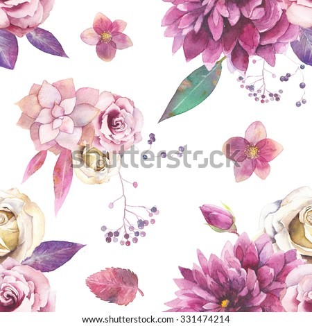 Watercolor vintage floral pattern. Seamless texture with purple and pink bouquet with succulent, branches, leaves, berries, flowers: rose, dahlia,hellebore on white background. Natural wallpaper