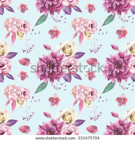 Watercolor vintage floral pattern. Seamless texture with purple and pink bouquet with succulent, branches, leaves, berries, flowers: rose, dahlia,hellebore on blue background. Natural wallpaper - stock photo