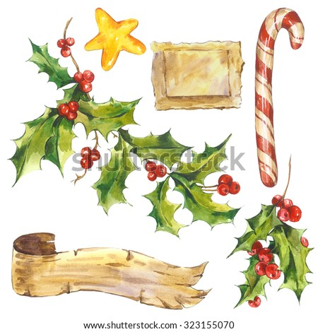 Watercolor vintage Merry Christmas and Happy New Year set isolated on white background, Holly, ribbon, candy, star, holiday illustration