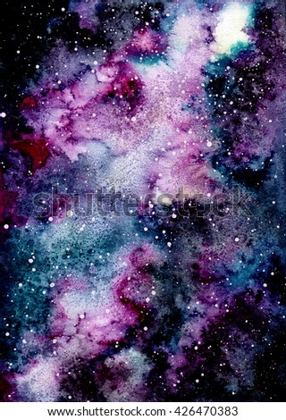 Watercolor Violet And Blue Nebula