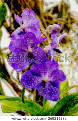 Watercolor violet orchid art background - stock photo