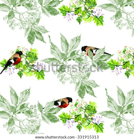 Watercolor virginia creeper,birds and white flowers