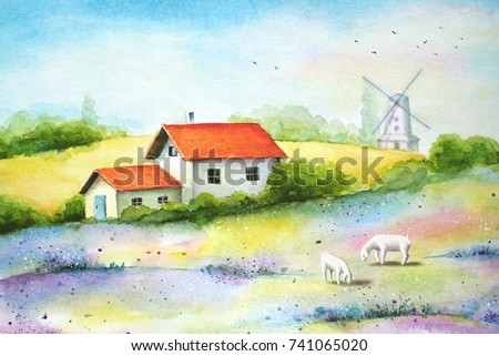 Watercolor vivid painting of countryside, rural landscape with wheat fields, wild flowers, small white farm house, sheeps and a windmill.