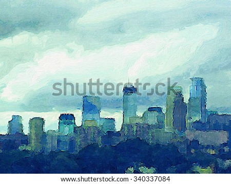 Watercolor wash effect Minneapolis skyline