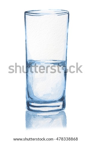 Watercolor water glass. Isolated half full half empty glass with fresh and pure water. Healthy beverage. Optimism or pessimism.