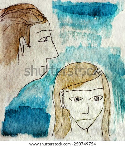 Watercolor 1. Watercolor faces, man and woman - stock photo