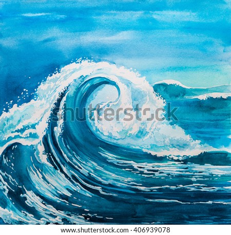 watercolor wave - stock photo