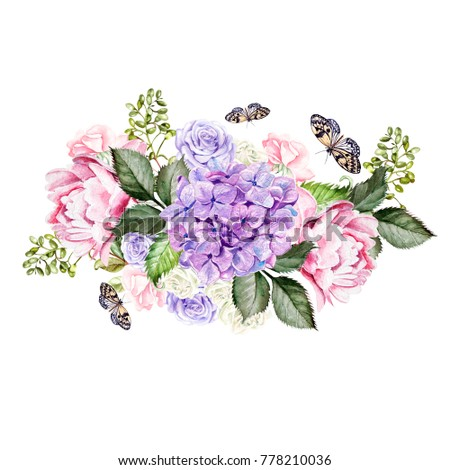 Watercolor Wedding Bouquet Rose Peony Hydrangea Stock Illustration ...