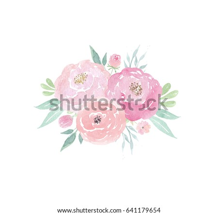 Watercolor Wedding Flowers Peonies And Leaves Floral Arrangement Clipart