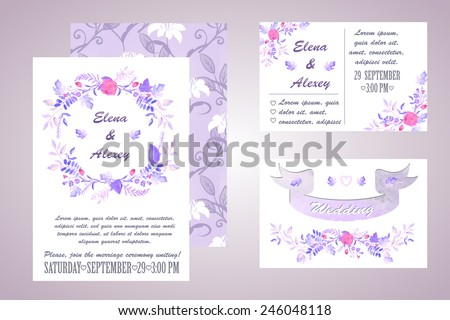 watercolor wedding invitation - illustration - stock photo