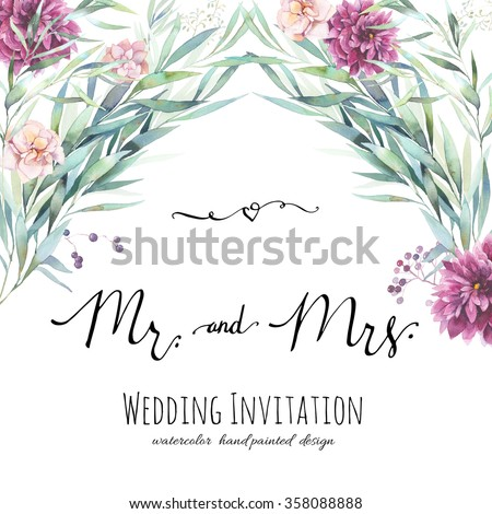 Watercolor wedding invitation with modern calligraphy words. Hand painted floral background with leaves, flowers and berries, calligraphic Mr. and Mrs. symbols, graphic design element. - stock photo