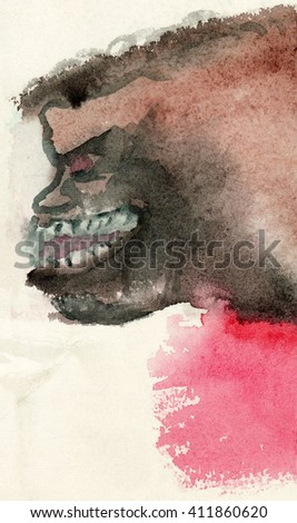 Watercolor wet-on-wet painting of a scary brown creature with teeth and some other human traits. Profile view.