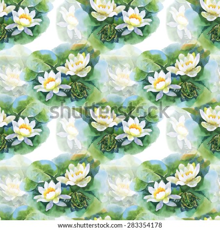 Watercolor white water-lilly flowers seamless pattern with frog on pond on white background - stock photo