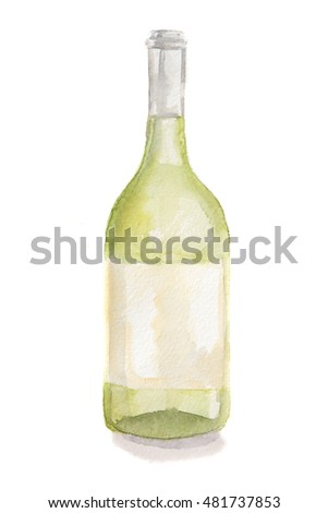 Watercolor white wine bottle. Isolated painted bottle of white wine. Restaurant menu and celebration drinking.