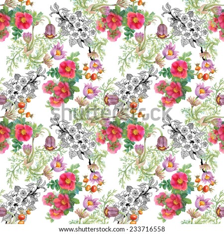 Watercolor wildflowers seamless pattern on white background - stock photo