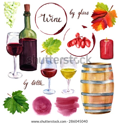 Watercolor wine set: a collection of drawings on white background, including a bottle of wine, wine glasses, grapes, vine leaves, a barrel, a burgundy candle and some textured design elements - stock photo