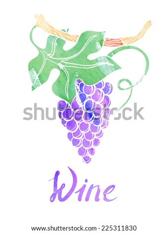 watercolor wine, vine with leaves. for winne banner - stock photo