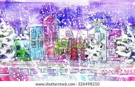 watercolor winter city near the water - stock photo