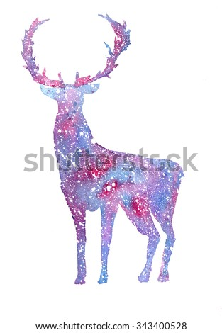 watercolor winter deer white on purple background. Winter Reindeer and snows, snowflakes. Winter Christmas card with a deer. - stock photo