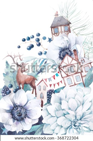 Watercolor winter fairytale illustration. Hand painted bouquet with old houses, deer, anemone flowers, party flags garlands, berries, stars and leaves. Vintage style fantasy artwork  - stock photo