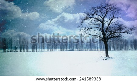 Watercolor winter landscape with tree and snow - stock photo