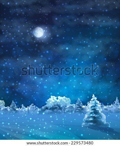 Watercolor Winter Night Landscape with snow-covered forest, fir tree, text