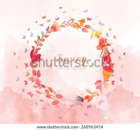 watercolor with flower and butterflies shape of the wreath - stock photo