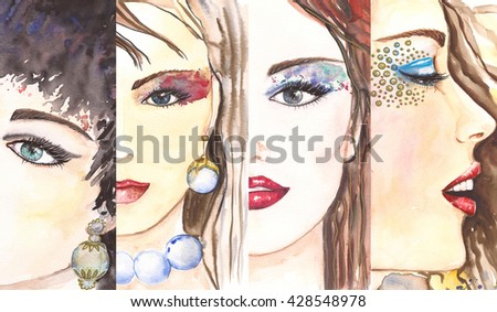 Watercolor. Woman portrait. Beauty concept. Pearl necklace and golden eyeshadow.