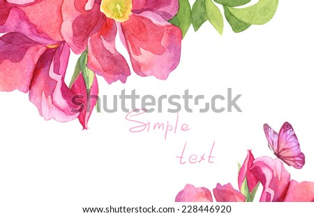 Watercolor wonderful colorful flower card set with floral borders - stock photo