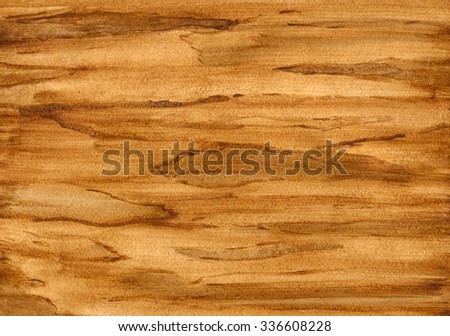 Watercolor wood texture, wooden background. Hand painting on paper - stock photo