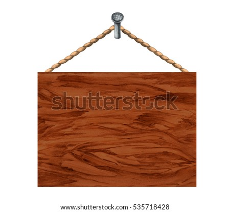 Watercolor wooden board. Rope, nail. Hand painting on paper isolated on white background