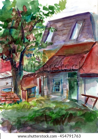 Watercolor works painted from nature. Country house.