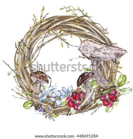 Watercolor Wreath. Mushrooms isolated. Watercolor hand painted texture on white background. Forest trees and Mushrooms