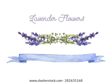 Watercolor wreath of lavender flowers. Flower composition. Hand drawn Lavender wreath with ribbon - stock photo