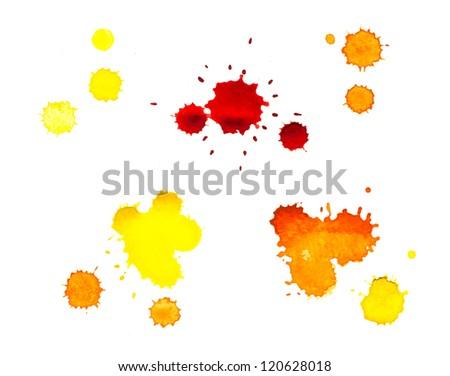 Watercolor, yellow blot - stock photo