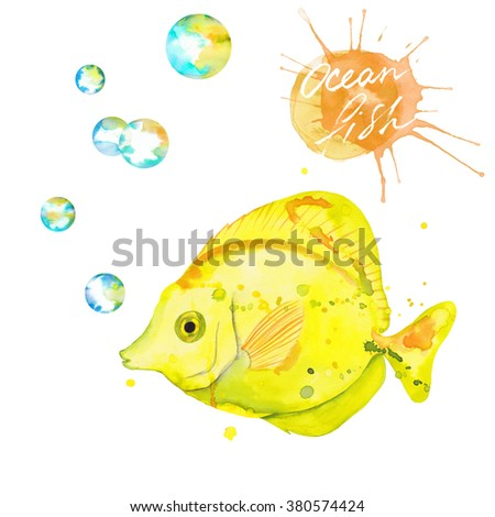 Watercolor Yellow Tang Fish with watercolor bubbles. Hand drawn. Isolated on white background. Yellow. Watercolor splashes - stock photo