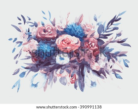 Watercolors bouquet of multicolored flowers